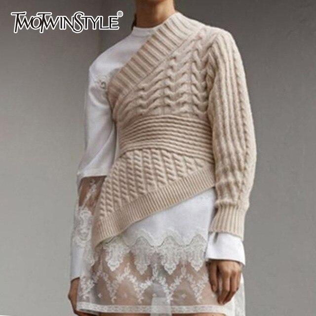 TWOTWINSTYLE סדיר סוודר חולצות נקבה ארוך שרוול כבוי כתף סימטרי סריגת סוודר נשים מקרית אופנה 2018 חדשה
