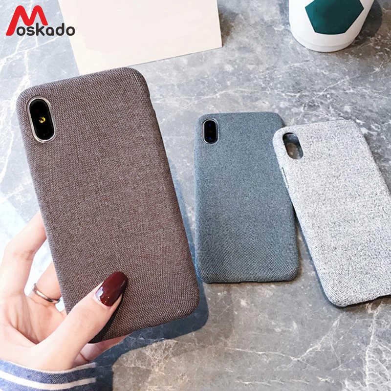 Moskado однотонный тканевый чехол для iphone 7 XS MAX XR X холщовый чехол для телефона для iphone 6 6s 7 8 Plus Мягкий чехол теплый плюшевый тканевый чехол