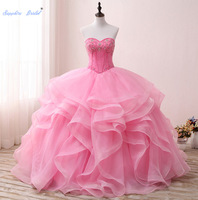 Sapphire Bridal Pink Ruffles Beading Long Ball Gown Vestido Para 15 Anos Sweetheart Quinceanera Dresses Formal Dress Party Gown