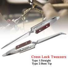 Крестообразный Пинцет Selflock из нержавеющей стали, волоконная ручка, инструмент для изготовления ювелирных изделий, ручные инструменты, 16x0,9 см, анти-скольжение, термостойкость