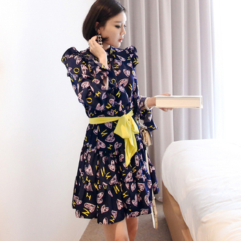 CINESSD Sexy Elegant Flower Print for Women halloween Dresses Long Sleeve Polyester Stand Neck Casual Party Vestidos Plus Size 4