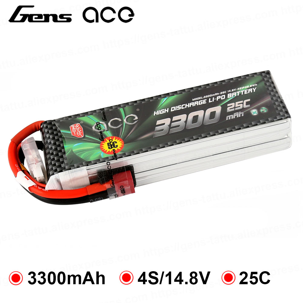 Gens ace <font><b>Lipo</b></font> Battery 14.8V <font><b>3300mAh</b></font> <font><b>Lipo</b></font> <font><b>4S</b></font> Battery Pack 25C T Plug Battery for 70mm edf FPV Planes Wings Helicopter RC Plane image