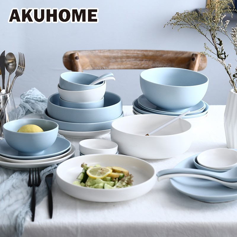 Nordic Style Solid Bowls Ceramic Dishes And Plates Sets Dinner Plates White Blue Tray For Food Household Gift AKUHOME