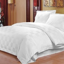 Pure guesthouse hotel room bedding wholesale three/four sets of plaid sateen suite