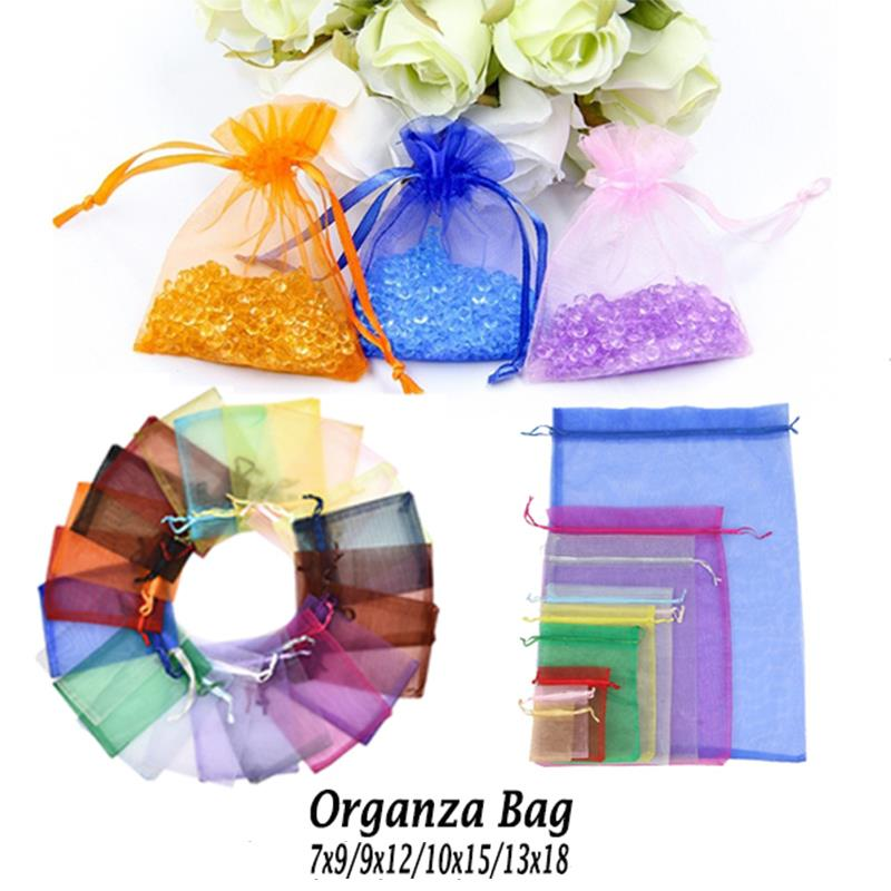 50Pcs Jewelry Packing Bags 7x9 9x12cm 10x15cm 13x28 Sachet Organza Bags Jewelry Packaging Display Bags Wedding Drawable Gift Bag