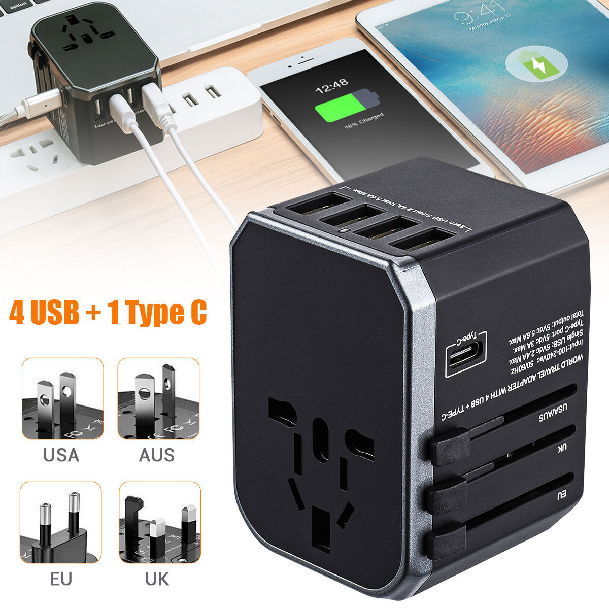Reise Adapter Universal Power Adapter Ladegerät 4 USB 2.4A Port + Typ-C Weltweit Adapter Wand Elektrische Stecker und Steckdosen konverter