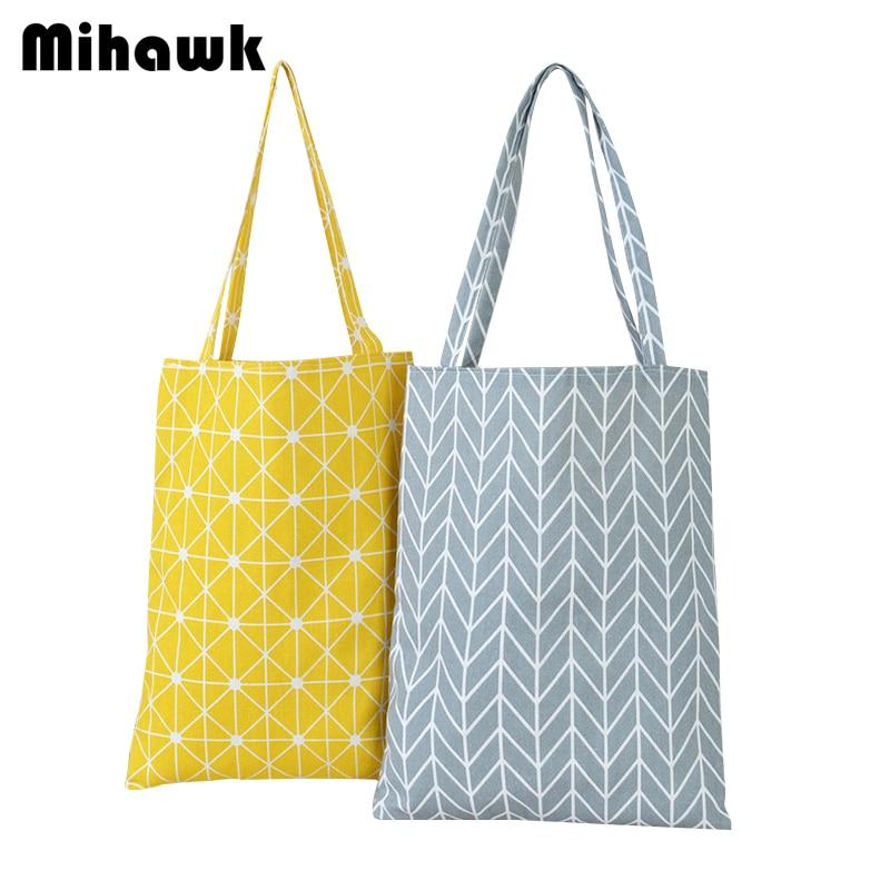 Mihawk Lattice Pattern Shoulder Shopping Bags Women Portable Carrying Eco Reusable Grocery Bag Supermarket Pouch Accessory Stuff