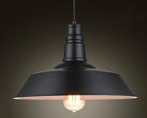 Image 1 - خمر قلادة أضواء الحديد المطاوع غطاء أسود/أبيض الصناعية مصابيح قلادة Loft الرجعية معلقة ضوء المصباح تركيبات