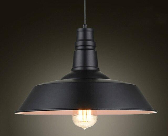 خمر قلادة أضواء الحديد المطاوع غطاء أسود/أبيض الصناعية مصابيح قلادة Loft الرجعية معلقة ضوء المصباح تركيبات