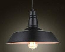 Lampy wiszące w stylu Vintage z kutego żelaza pokrywka czarno białe lampy przemysłowe wisiorek Loft Retro wiszące lampy oprawa oświetleniowa