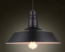 Vintage Pendant Lights Wrought Iron Lid Black/White Industrial Lamps Pendant Loft Retro Hanging Lamp Light Fixture