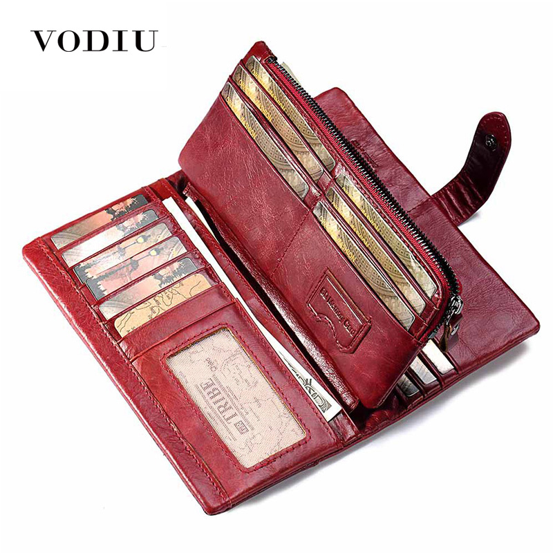 Women's Genuine Leather Wallet Slim Purse Vintage Culutch Unisex Phone Bag Long Carteras Female Long Coin Purse Women Wallets