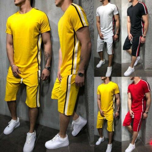 Hirigin Striped 2019 Summer Shorts Casual Suits Sportswear Sets Pants Male Sweatshirt