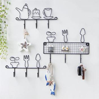 Wall Hanging Hook Wrought Iron Home Decorative Hooks for Hanging Clothes Hat Scarf Key Deer Horns Hanger Rack Wall Decoration saim decorative hook door wooden hooks for hanging clothes hooks home wall row hooks key holder wall hanging rack kitchen hanger