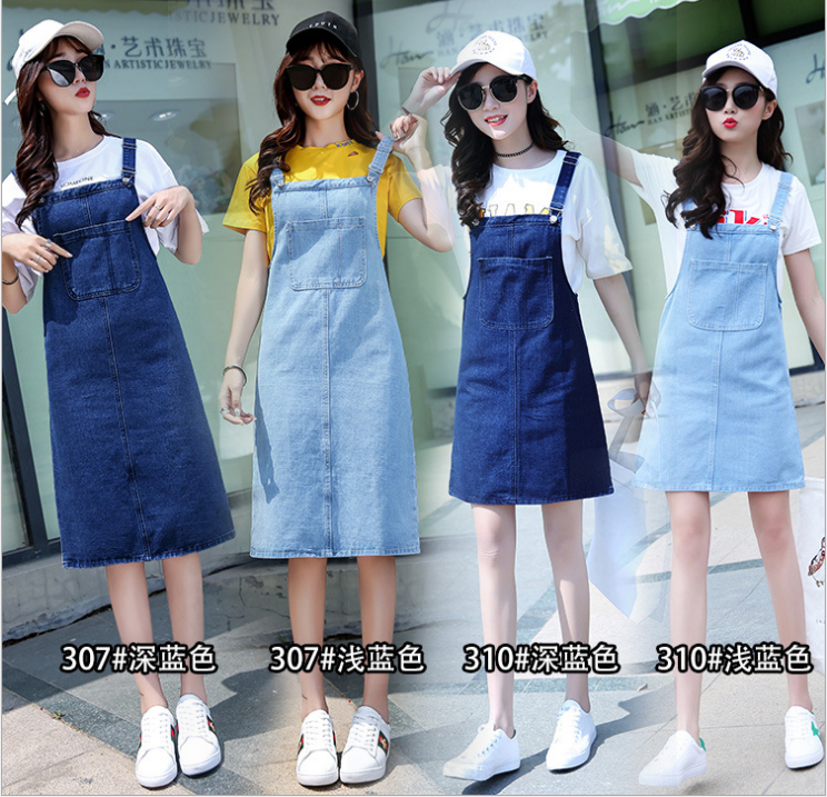 Women's Overalls Denim Suspenders Dress England Style Plus Size Sundress Jeans Dress Women Frayed Summer Dress Salopette Femme