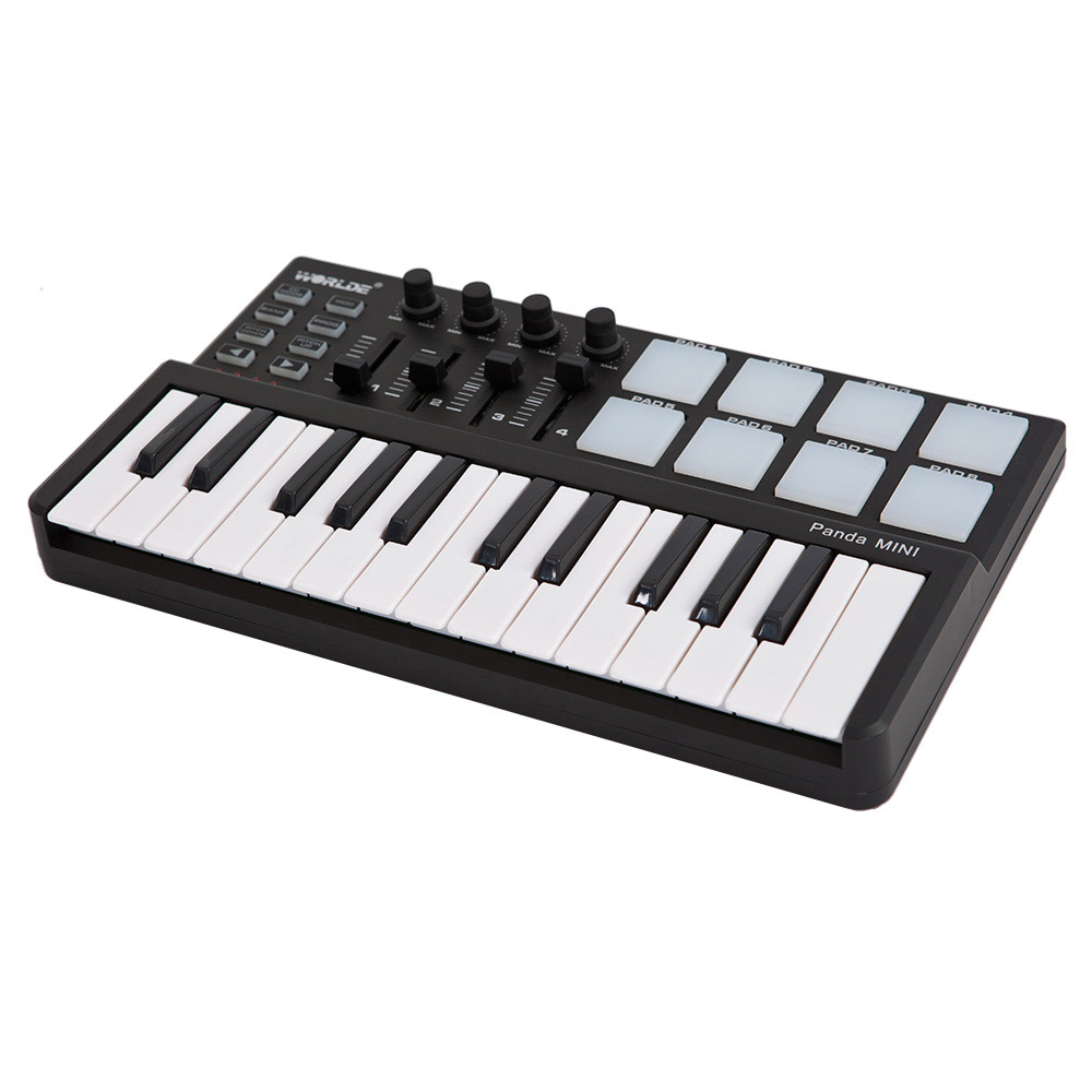Worlde Panda Mini Portable Mini 25-Key USB Keyboard And Drum Pad MIDI Controller Midi Keyboard Piano Controlador Midi Piano Digi