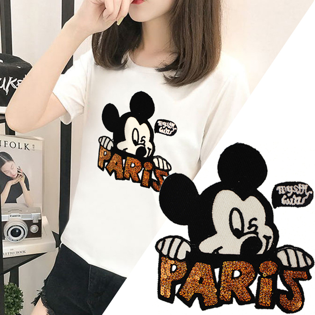 7ac814456e6df US $2.84 5% OFF|Cartoon 3d Embroidery Sequins Clothing Sew On Patches  Mickey Applique Badge Fabric For Apparel T shirts Jeans DIY Sewing  Crafts-in ...