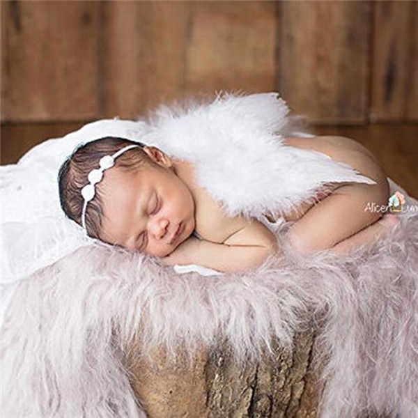 Bayi Baru Lahir Foto Menembak Kostum Sayap Malaikat Fotografi Post Malaikat Bulu dengan Bunga