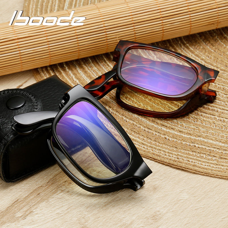 Iboode Unisex Folding Reading Glasses With Case +1.0 1.5 2.0 2.5 3.0 3.5 4.0 Portable Women Men Presbyopia Eyeglasses Eyewear