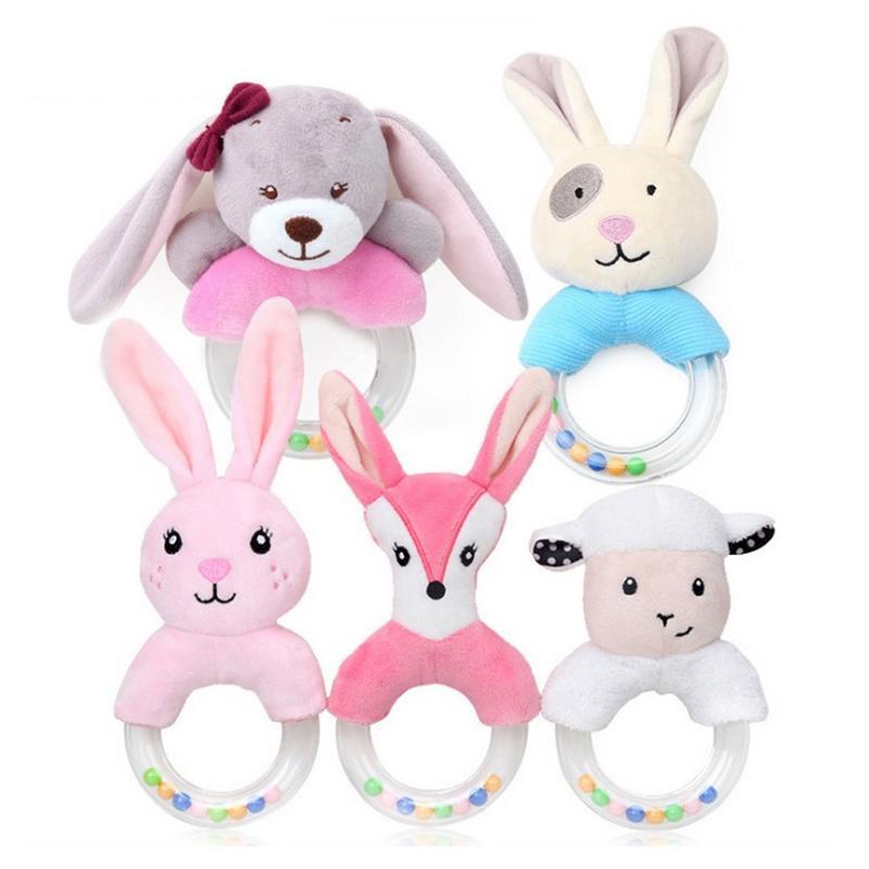 Cute Baby Cartoon Rabbit Bear Plush Rattle Ring Bell Newborn Hand Grasp Bed Toys Soft Mobile Infant Crib Dolls For Newborn Baby