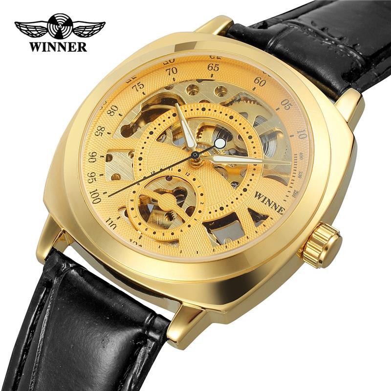 Winner Royal Diamond Design Black Gold Mechanical Watch Montre Homme Mens Watches Top Brand Luxury Relogio Male Watch 3