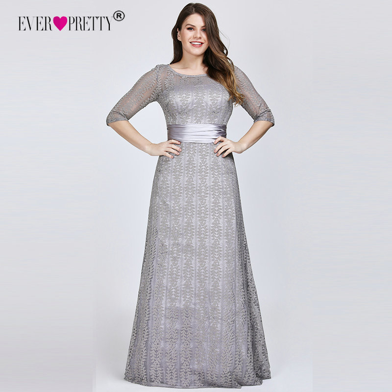 Plus Size Prom Dresses 2019 Ever Pretty Sexy A line Lace Half Sleeve Grey Formal Party