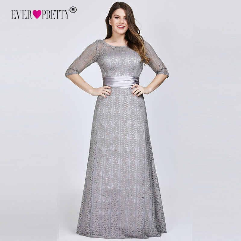 Tamanho elegante Além de Vestidos de Noite Longo 2019 Sempre Bonita EP08878GY A-line Lace Meia Manga Cinza Formais Vestidos de Festa para o Casamento
