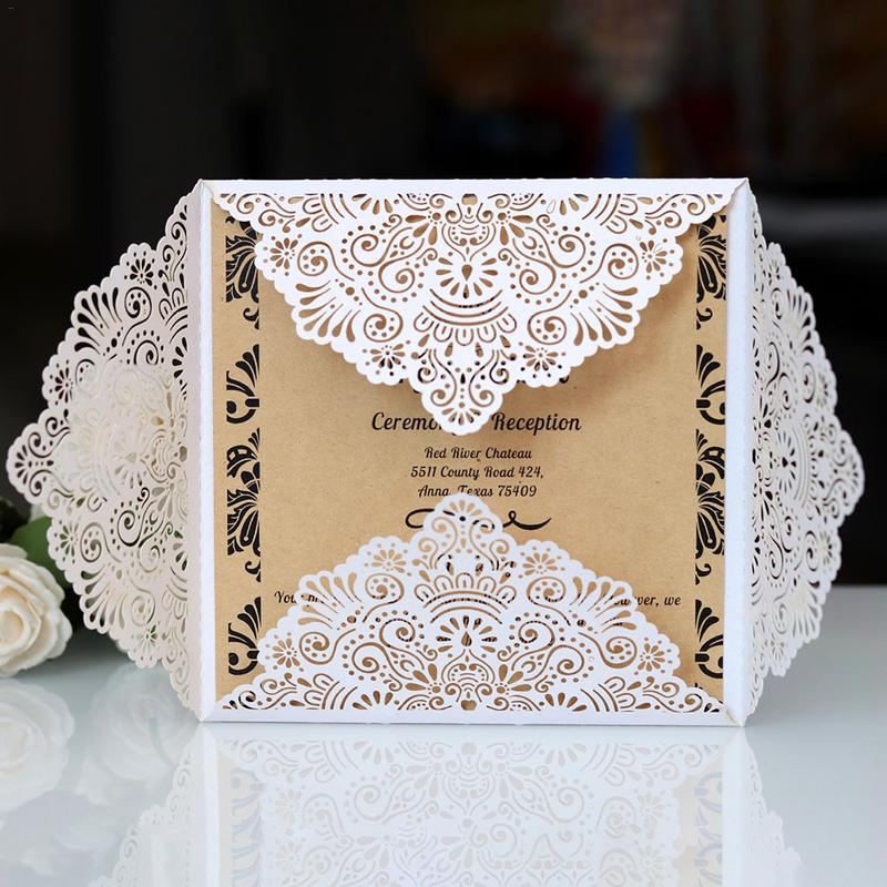 10PCS Ribbons Flower Bow Laser Cut Wedding Invitation Cards Vintage White Bridal Shower Gift Greeting Card Party Supplies Decor