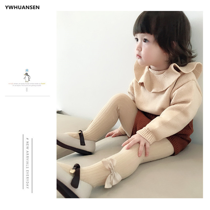 YWHUANSEN 0-10 Yrs Children Spring Autumn Winter Bowknot Tights Cotton Baby Girls Pantyhose Kids Infant Knitted Collant Tights 3
