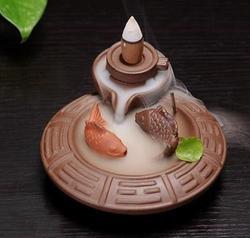 Chiński Handwork ryby ceramiczne kamień młyński  dym cofaniu stożek uchwyt kadzidło palnika Censer