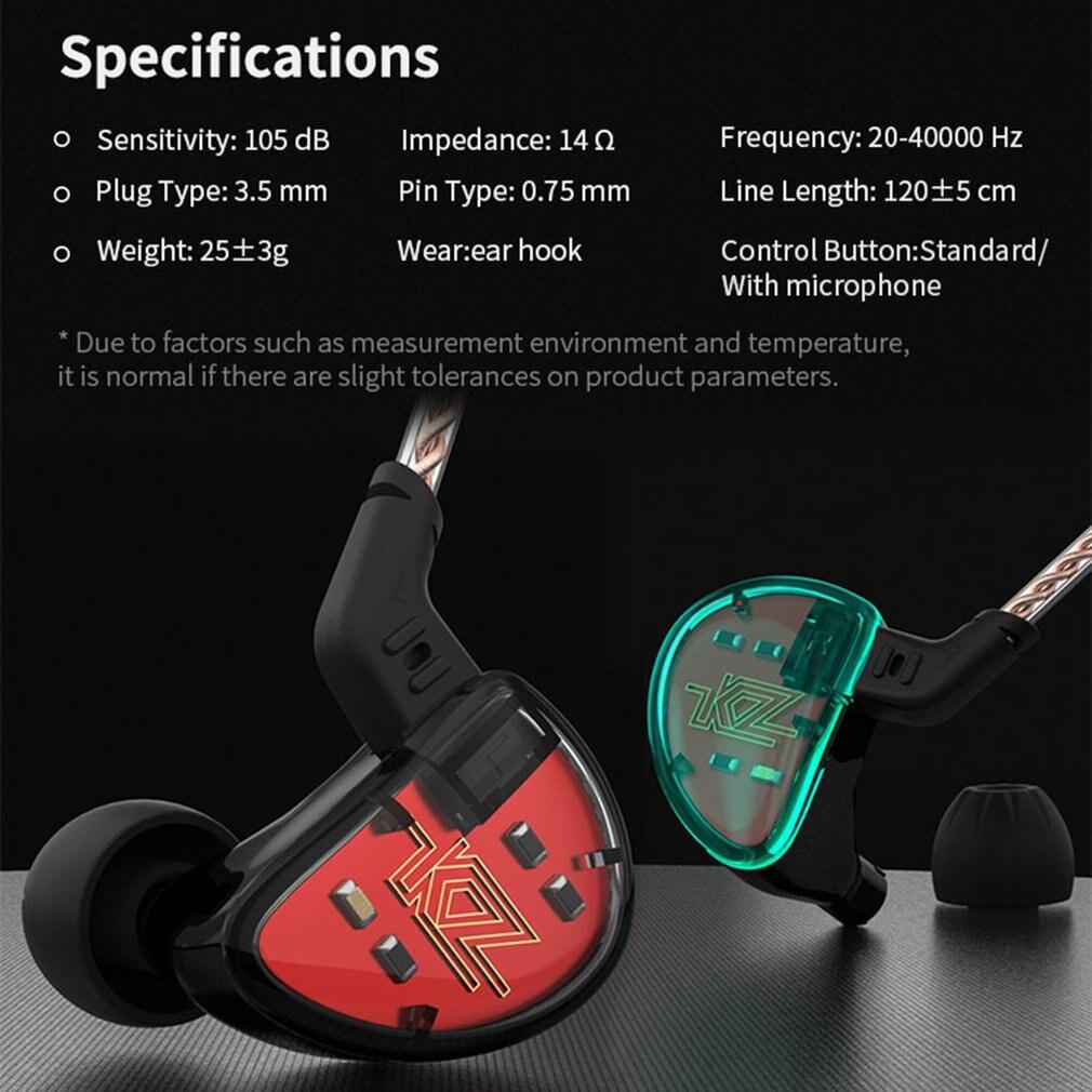 KZ AS10 5BA unidad en el auricular del oído 5 armadura equilibrada desmontable separar 2Pin Cable DJ HIFI Monitor auricular KZ ZS10 KZ BA10 - 5