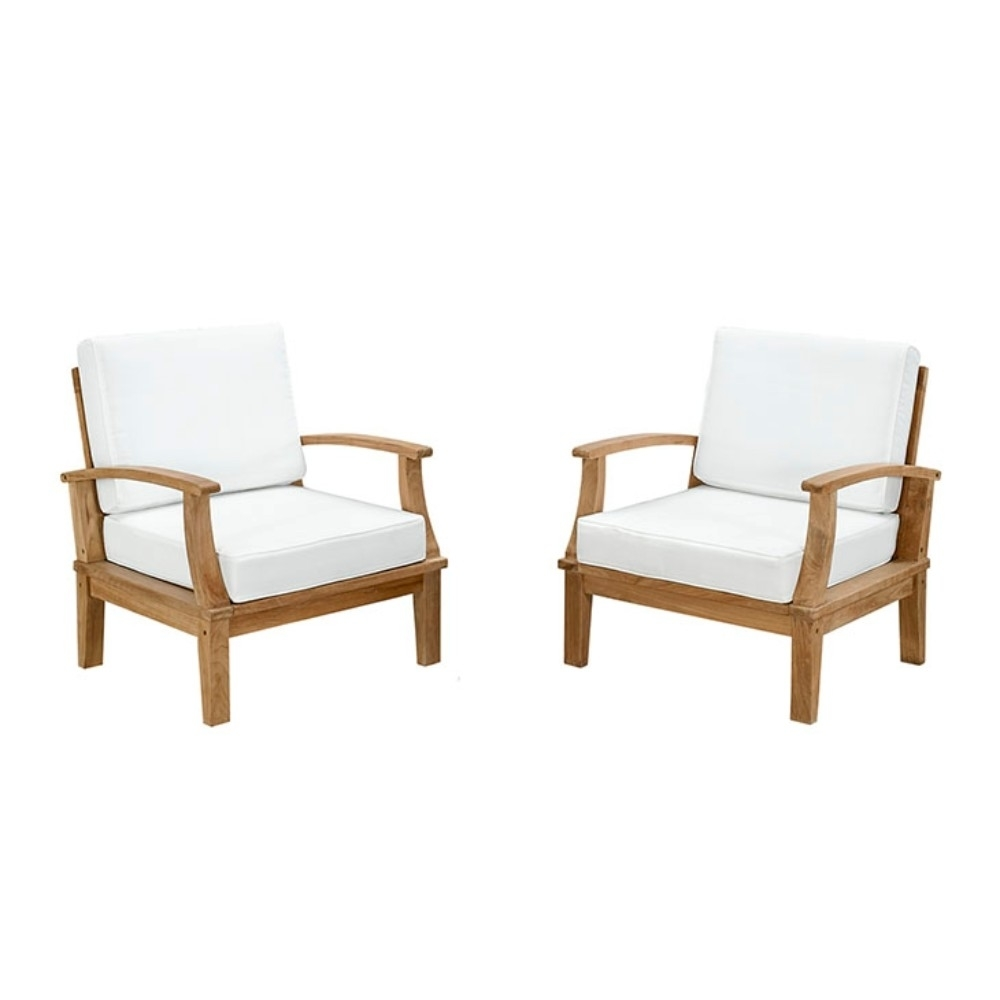 Sofa Set Size: Marina 2 Piece Outdoor Patio Teak Sofa Set, Natural White