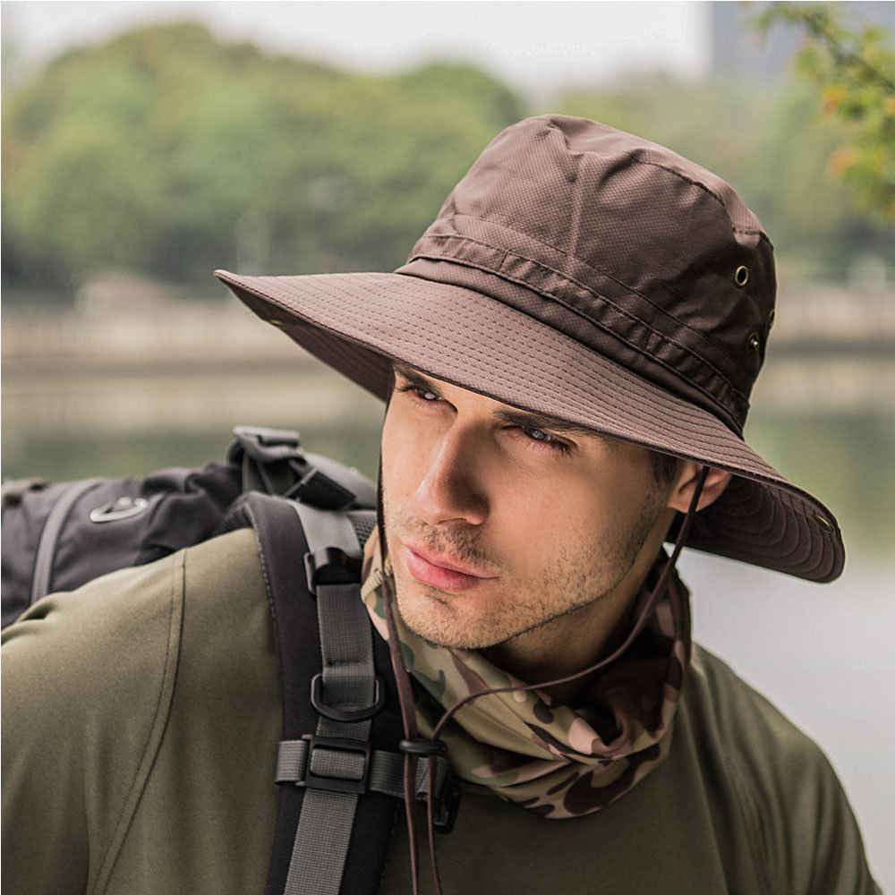 cc0721ce09c ... Boonie Bucket Hat Cap Fishing Hunting Safari Summer Men Sun Hat  Fisherman s Hat Men and Women ...