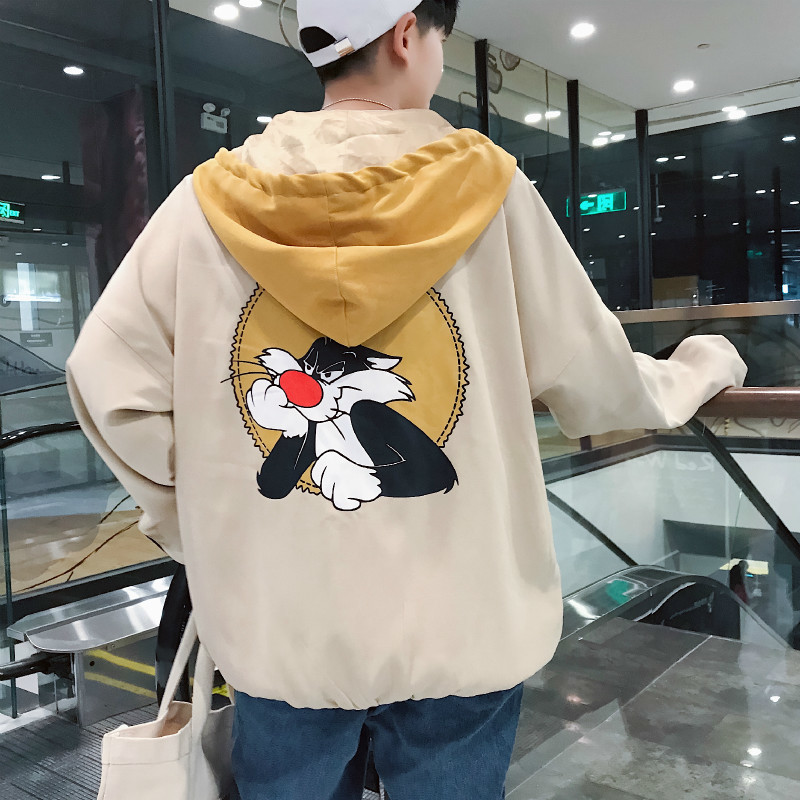 2018 Autumn New Korean Edition Male Trend Even Hat Baseball Serve Pilot Jacket Loose Cartoon Printing Casual Coat