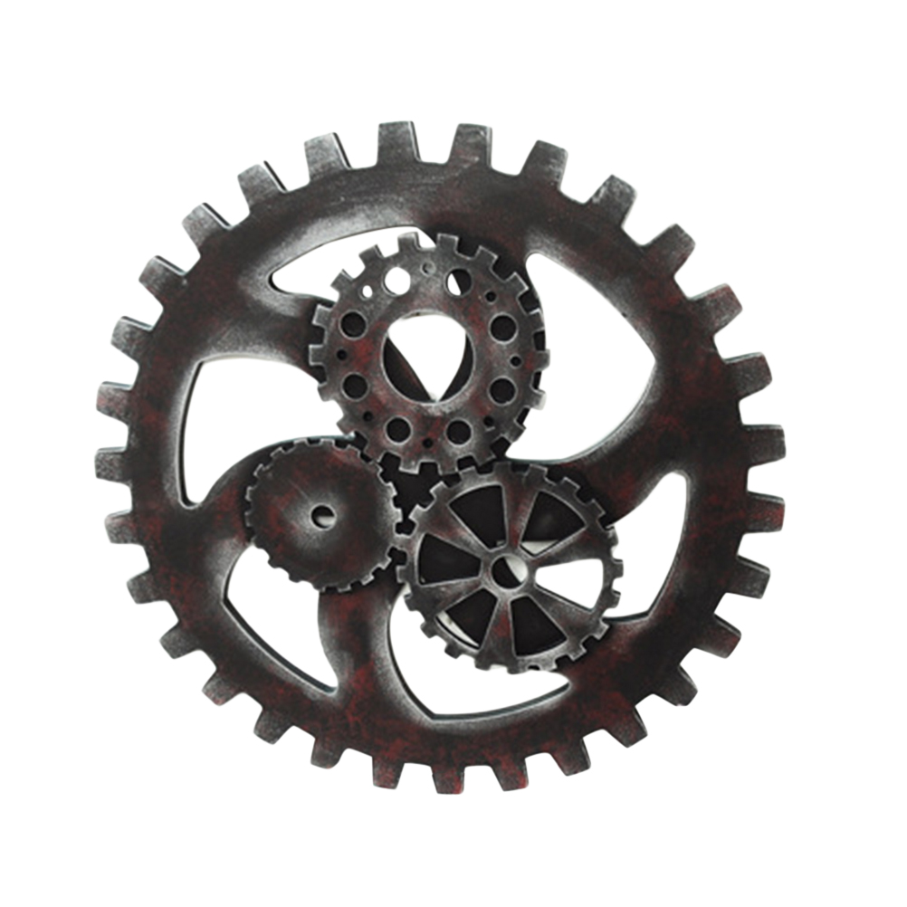 Gear Wheel Wooden 40cm Hanging Wooden 3D Wall Sticker Punk Style Industrial Vintage Decoration Accessory Wall Art Home Decor