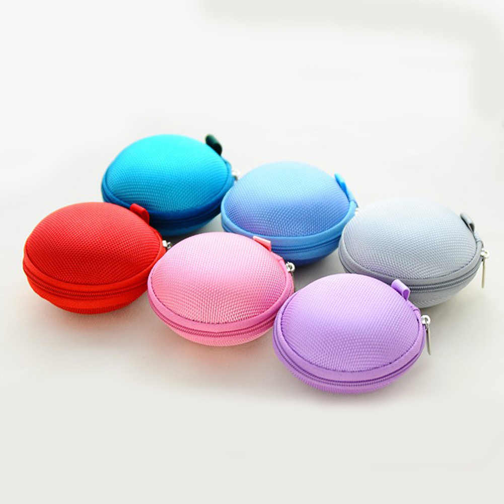 Mini Zipper Kopfhörer Kopfhörer Sd-karte Lagerung Tasche Box Tragetasche Runde Fall Frauen Geldbörsen Brieftasche