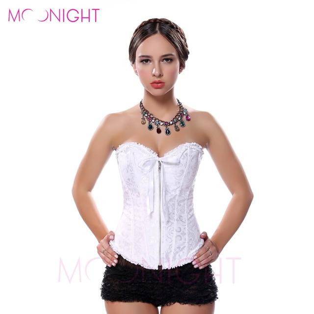 MOONIGHT Sexy Women Corse Corset Zipper Overbust Bustier Shapewear  Burlesque Korsett Corsage S - 2Xl 9d85d8e6ba9d1