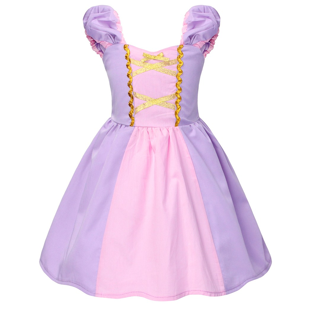 AmzBarley Girls Rapunzel Princess Costume toddler Birthday Party Halloween Cosplay Outfits Fancy Children Christmas Ball Gowns