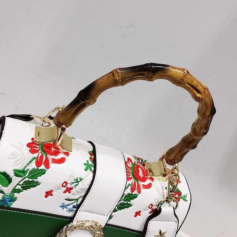 c26d17f9b4 ... Telastar Femmes Sac Vintage Bambou Poignée de Sac À Main De Luxe Marque  Femelle Floral Broderie