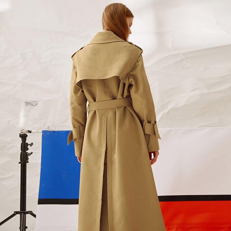 Supérieure Femmes Qualité 2019 Nouvelles Lacets Manteau Printemps Unique Turn eam La536 Simple Ceinture down Kaki Mode Khaki Long Collar Poitrine À De It8wESEx