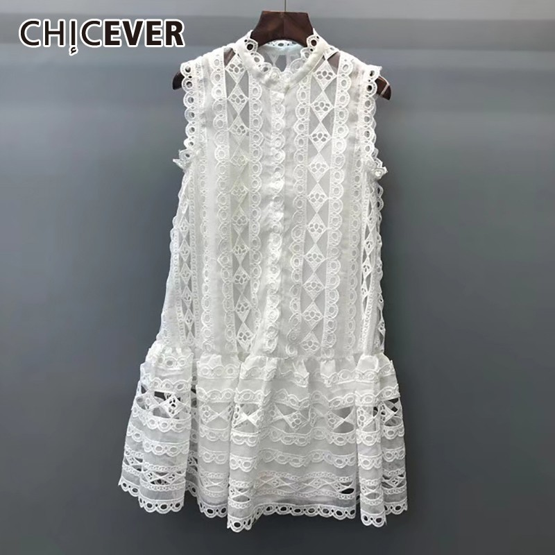 CHICEVER Summer Casual Off Shoulder Lace Hollow Out Dress For Women O Neck Sleeveless Loose Mini
