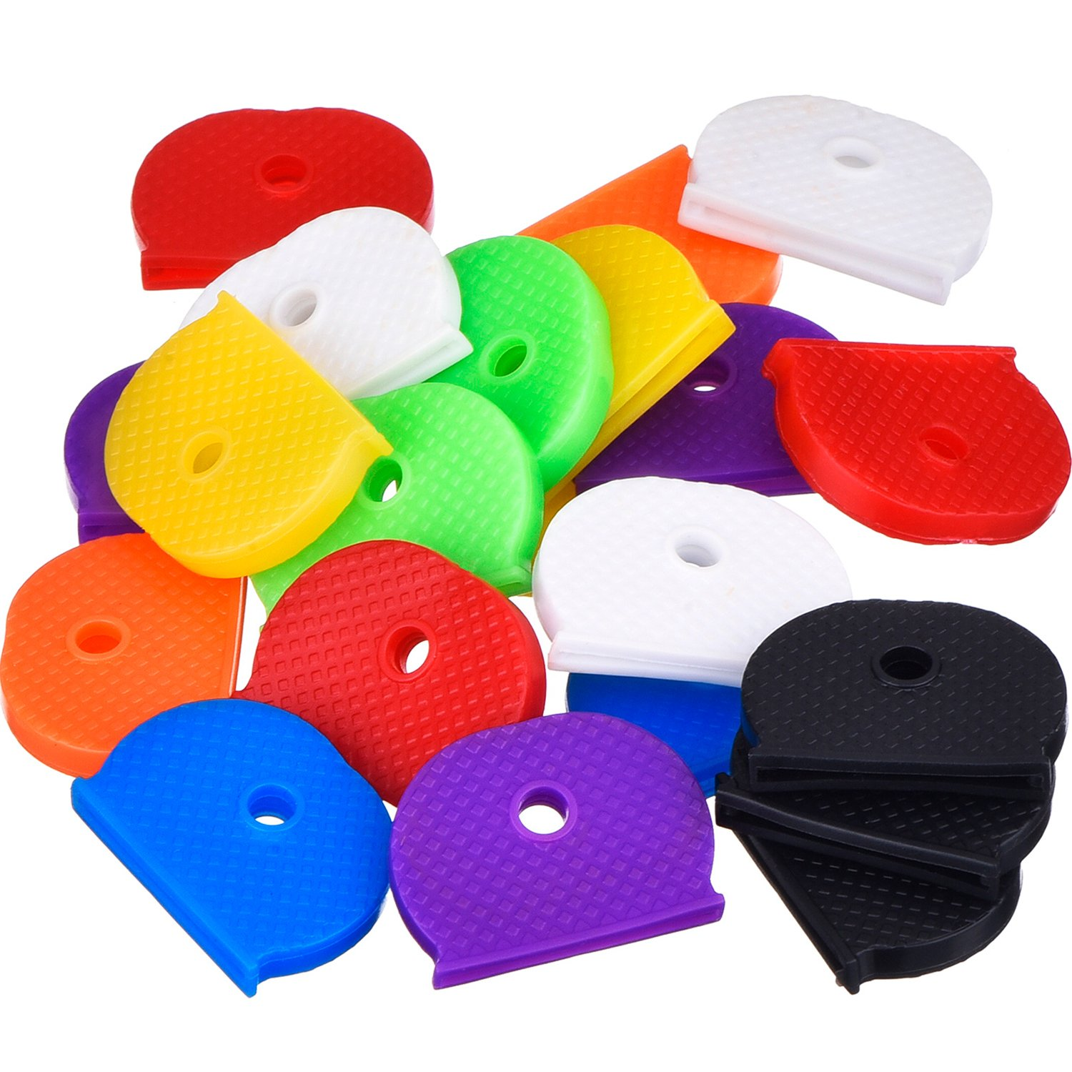 24 Key Caps With Flexible Key Cover For Easy Identification Of Door Keys, Multicolor