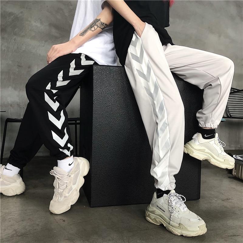 HOUZHOU Reflective Pants Women Harajuku Hip Hop Harem Lovers Pant Jogger Mujer Fashion Streetwear Sweatpants Loose Trousers Slim