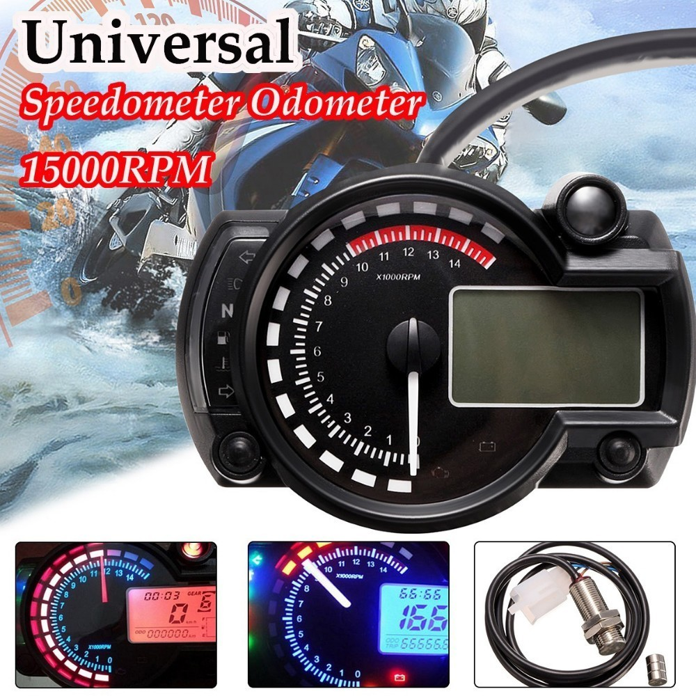 15000rpm Modern Motorcycle Digital Light LCD Digital Gauge Speedometer Tachometer Odometer Adjustable Motorcycle Speedometer ls2 helmet