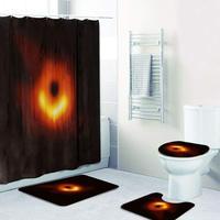 Digital Printing, Exquisite And Beautiful Bathroom 4 Piece Set Black Hole Print Shower Curtain Floor Mat Bathroom Mat Set