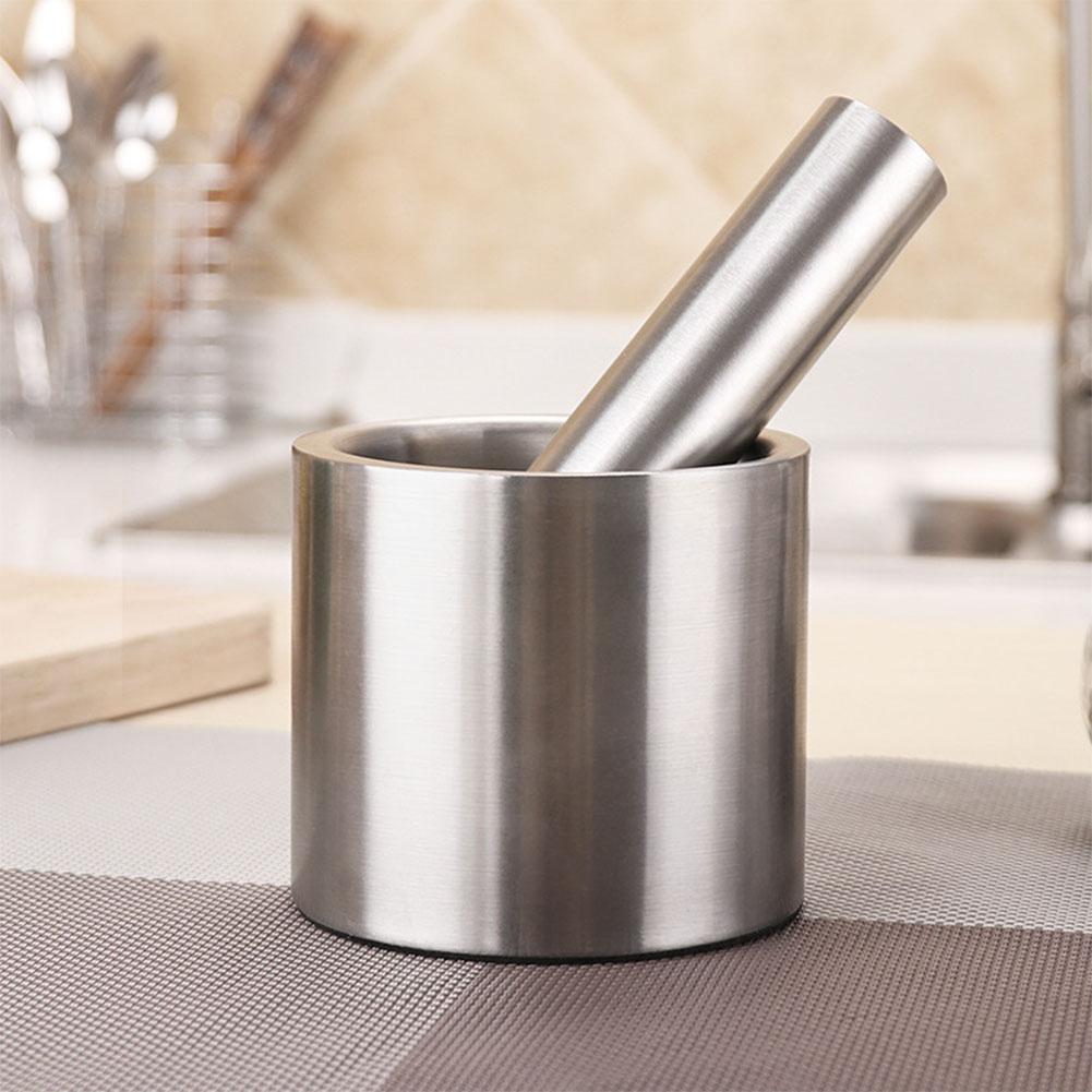 Acier inoxydable Moulin À Épices Mortier et Pilon Set pour La Maison Cuisine Fournitures Outil De Meulage