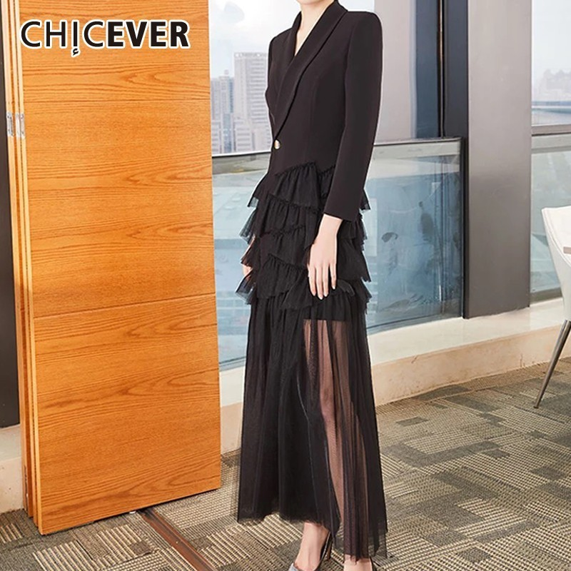CHICEVER Summer Formal Party Dress Pleated Mesh Women Dresss V Neck Long Sleeve High Waist Button