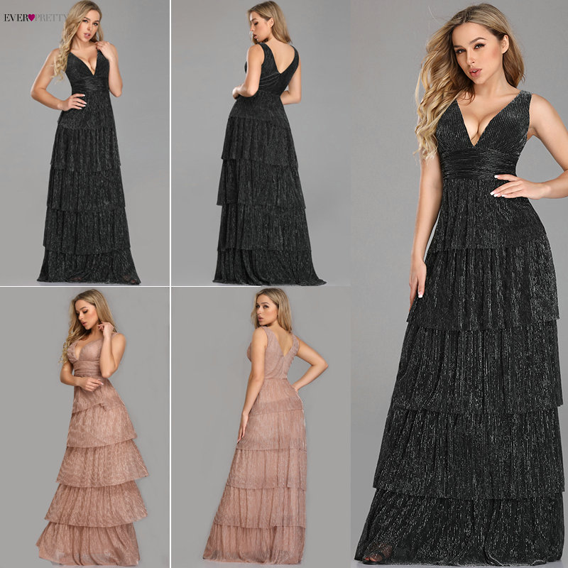 Robe De Soiree Ever Pretty Sexy V-neck A-line Sleeveless Ruffles Evening Dresses Long 2020 New Arrival Wedding Guest Party Gowns