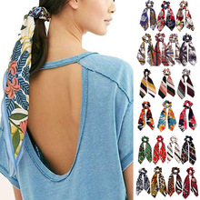 1 pc New Fashion Sweet Print Scrunchie Women Ribbon Elastic Hair Band Bow Scarf Rubber Ropes Girls Accessories