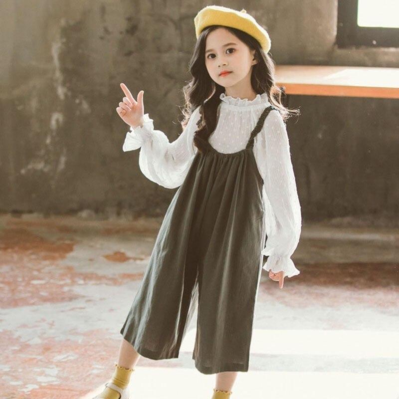 Hauts Pantalons Enfants Vêtements Ensembles Printemps Automne 2019 Adolescentes Vêtements Enfants Blouses Blanches + Salopette 2 pièces Costumes Mode